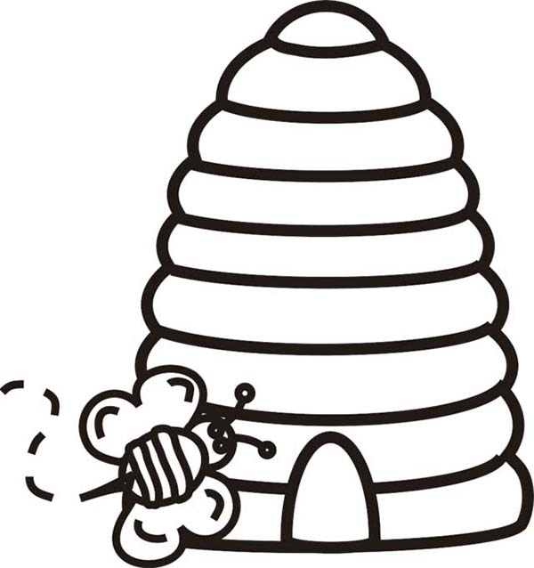 Bee Going Inside Beehive Coloring Page