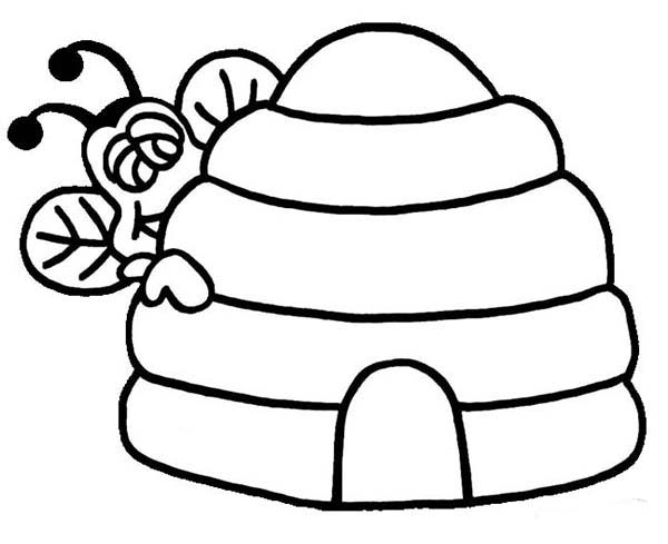 Bee Peeking Behind Beehive Coloring Page
