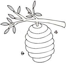 Beehive Up at Tree Branch Coloring Page