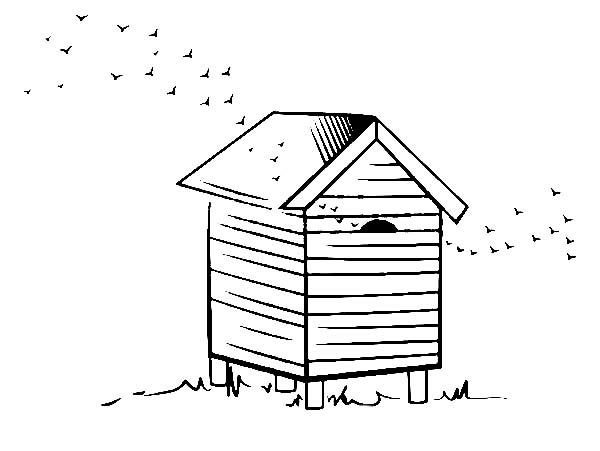 Beehive For Honey Farming Coloring Page