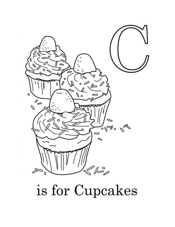 c is for cupcake coloring page netart