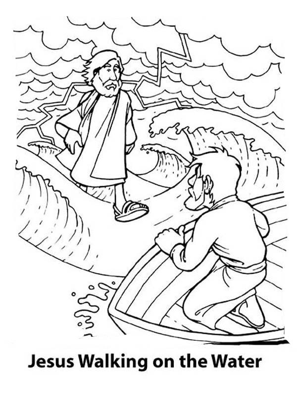 Can Walk on the Water is Miracles of Jesus Coloring Page - NetArt