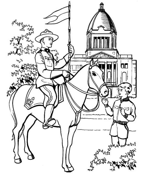 canada police officer coloring page