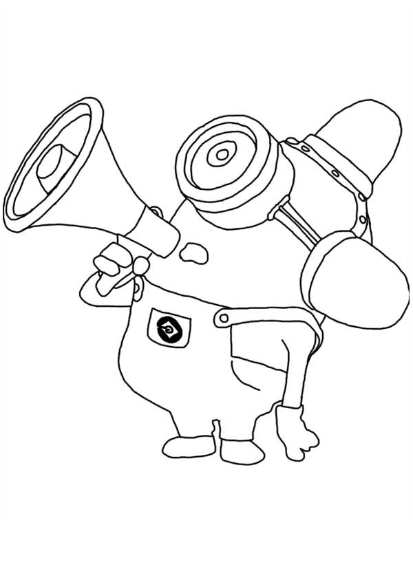 Me Carl Mimicking Fire Truck Siren In Despicable Coloring Page