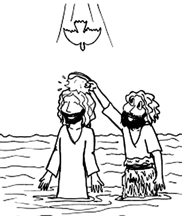 Cartoon Jesus Baptism in John the Baptist Coloring Page NetArt