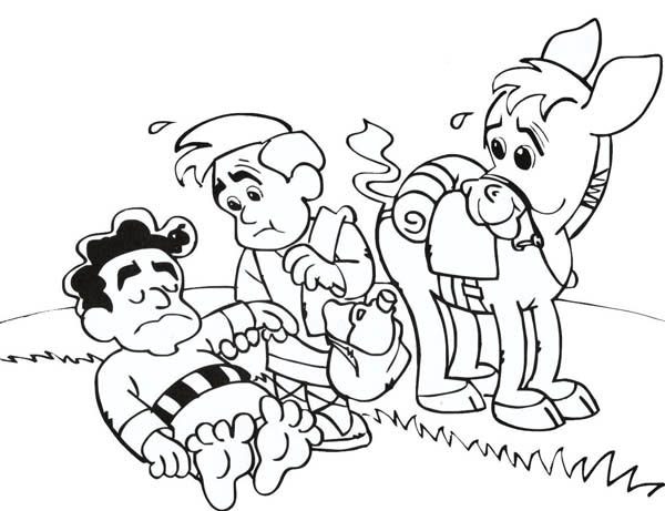 cartoon of good samaritan story coloring page - Good Samaritan Coloring Page