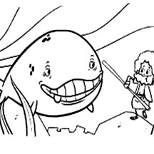 Cartoon of Jonah and the Whale Coloring Page