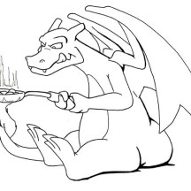 Charizard Frying with His Flaming Tail Coloring Page