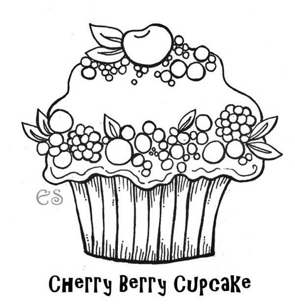 cherry berry cupcake coloring page netart
