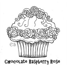 Chocolate Raspberry Rose Cupcake Coloring Page