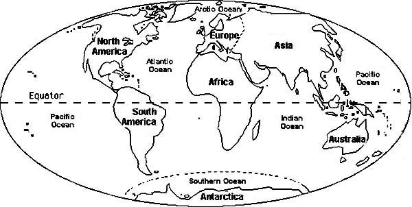Circle World Map Coloring Page - NetArt