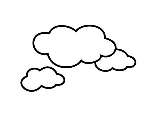 cloud template with lines - cloud free colouring pages