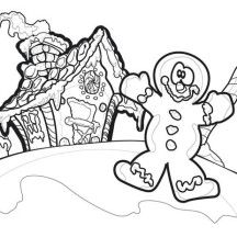 Clown Gingerbread House Coloring Page
