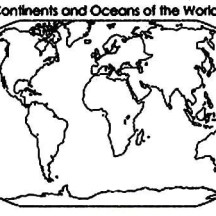 Continent and Oceans of the World in World Map Coloring Page