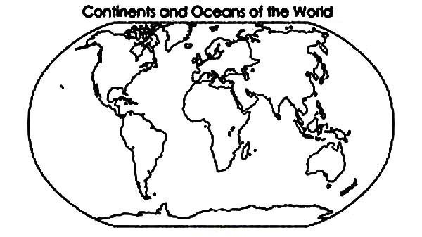 Continent and Oceans of the World in World Map Coloring Page NetArt