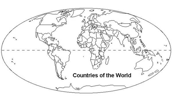 Countries of the world in world map coloring page