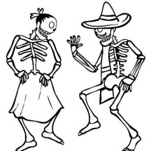 Couple Skeleton Dancing Coloring Page