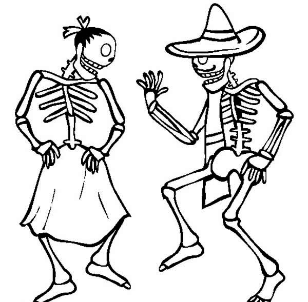 couple skeleton dancing coloring page netart