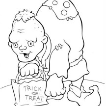 Creepy Huntchback Man in Funschool Halloween Coloring Page