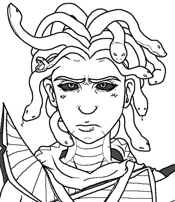 creepy medusa coloring page