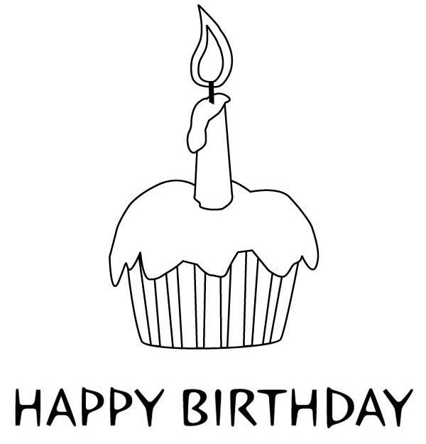 Cupcake for birthday coloring page netart for Birthday cupcake coloring page