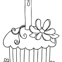 cupcake with candle on top coloring page - Cupcake Candle Coloring Page