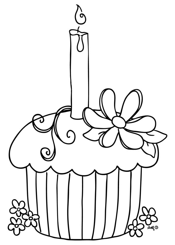 Cupcake with Candle on Top Coloring Page - NetArt