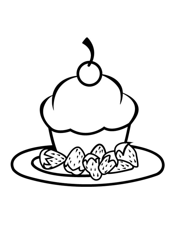 Cupcake with Strawberry on Plate Coloring Page