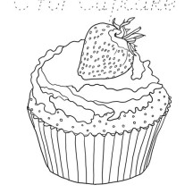 Cupcake with Strawberry on Top Coloring Page