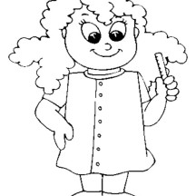 Curly Beautiful Nurse Coloring Page