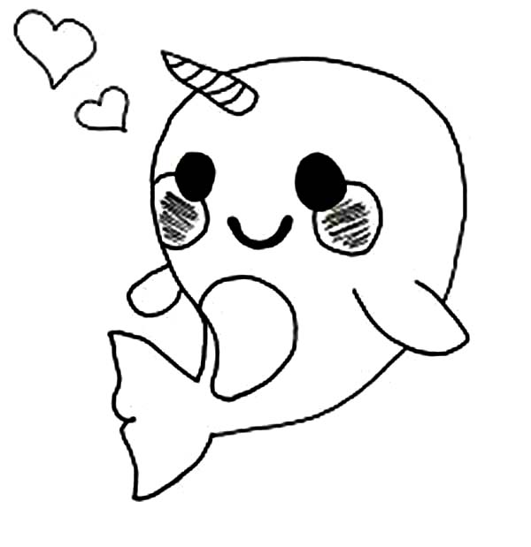 Cute Baby Narwhal Coloring Page - NetArt