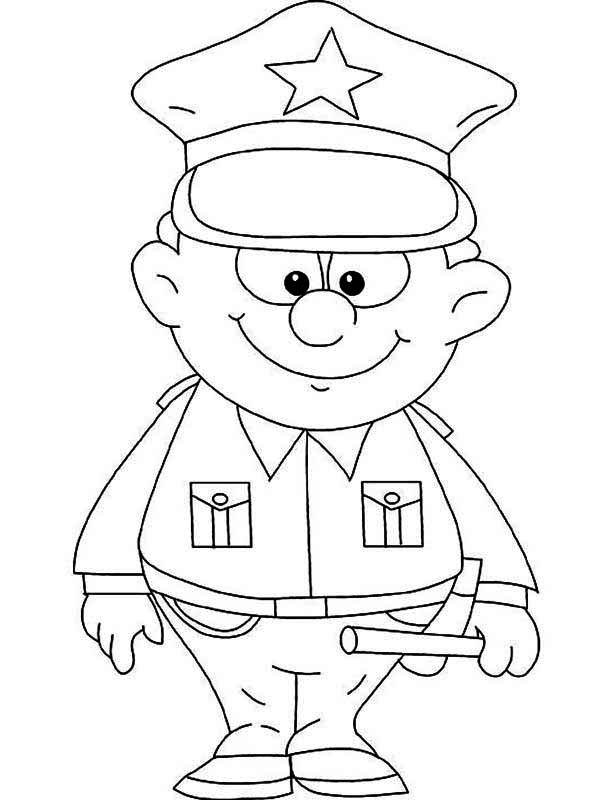 Cute little police officer picture coloring page netart - Dessin policier ...