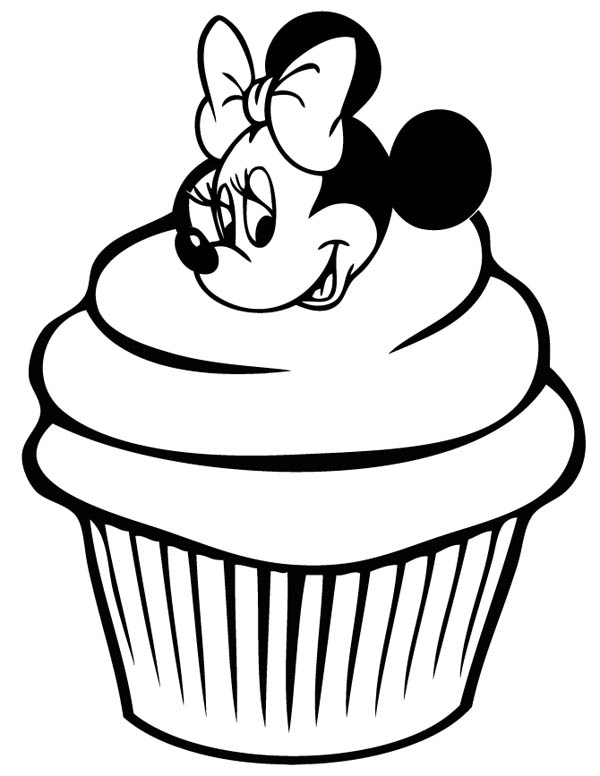 cute minnie mouse cupcake coloring page - Cupcake Coloring Pages