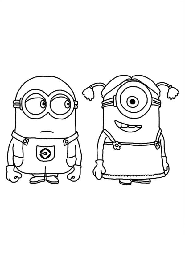 dave and stuart as a girl in despicable me coloring page
