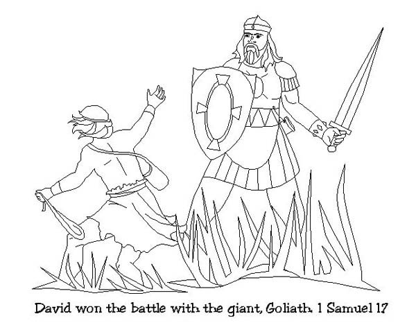 David Won The Battle With Goliath In Story Of King Saul Coloring Page