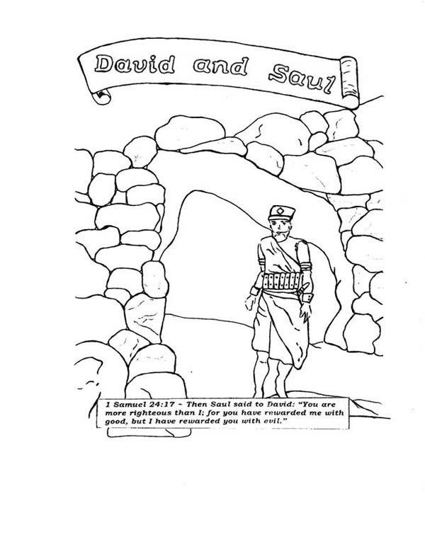 David And Saul In The Story Of King Coloring Page