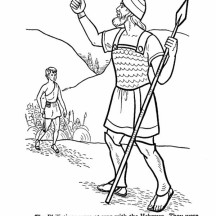 David the Giant Slayer in the Story of King Saul Coloring Page
