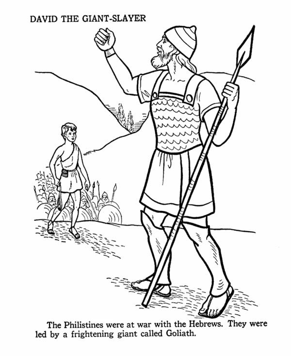 David the giant slayer in the story of king saul coloring for King david coloring pages free