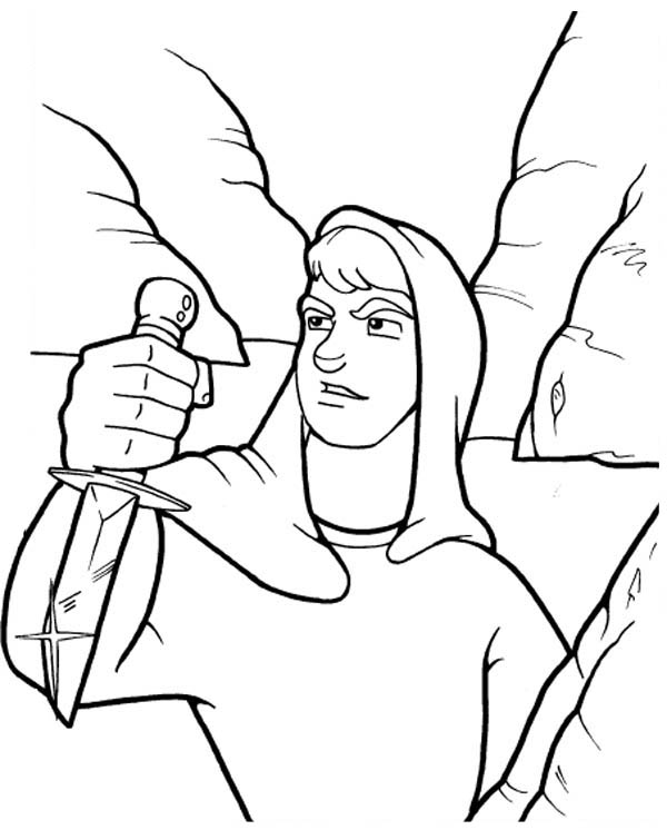 David With Sharp Knife In The Story Of King Saul Coloring Page
