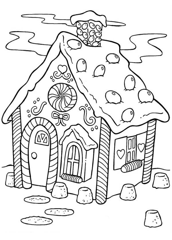 Delicious Gingerbread House Coloring Page NetArt