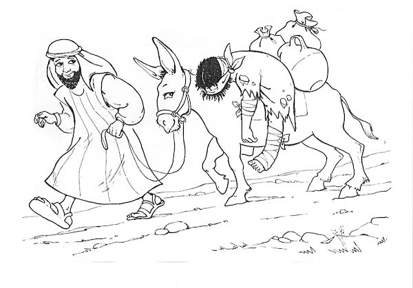 depiction of good samaritan coloring page