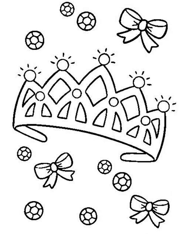Diamond on Princess Crown Coloring Page - NetArt