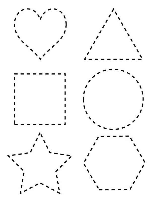 Dotted Line Shapes Coloring Page - NetArt