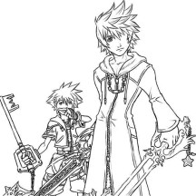 Drawing of Roxas and Sora Coloring Page