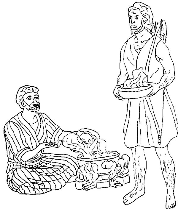 Esau Want A Bowl Of Stew In Jacob And Coloring Page