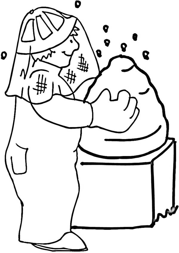 Farmer Lifting Beehive Coloring Page