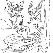 Fawn and Tinkerbell say Hi to a Bird in Pixie Coloring Page