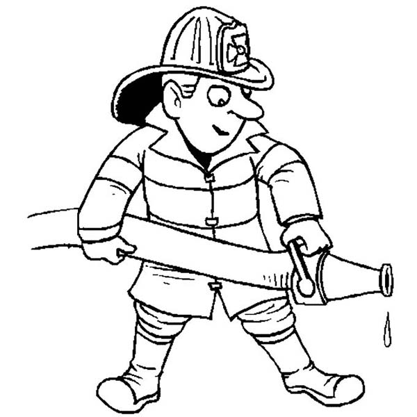 Fireman Extinguishing Fire in Community Helpers Coloring Page NetArt