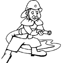 Fireman is Working for Community Helpers Coloring Page