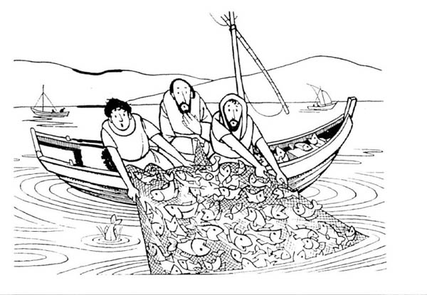 Fisherman Miraculous Catch is One of Miracles of Jesus Coloring Page ...